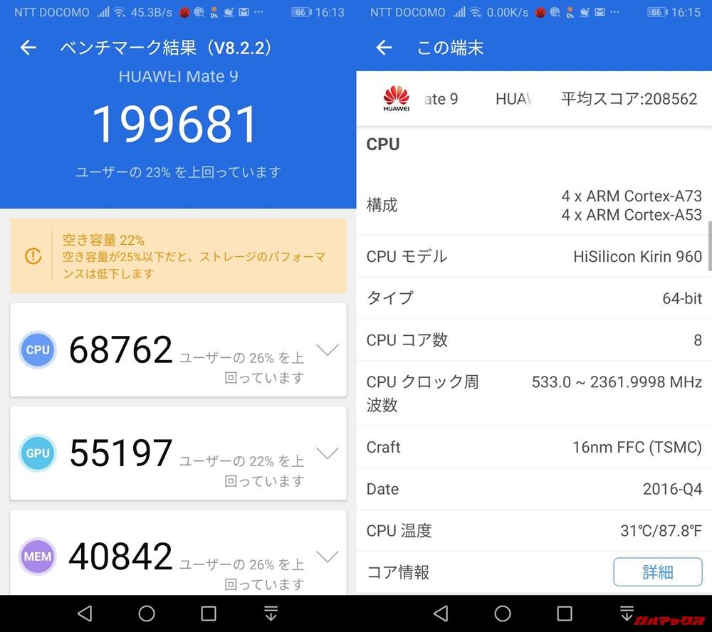 HUAWEI Mate 9(Android 9)実機AnTuTuベンチマークスコアは総合が199681点、3D性能が55197点。