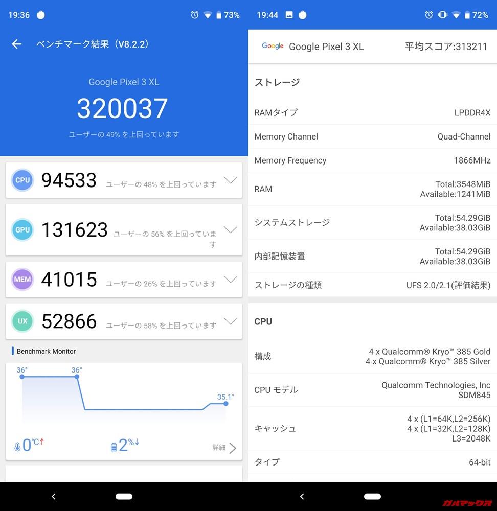 Pixel 3 XL(Android 9)実機AnTuTuベンチマークスコアは総合が320037点、3D性能が131623点。
