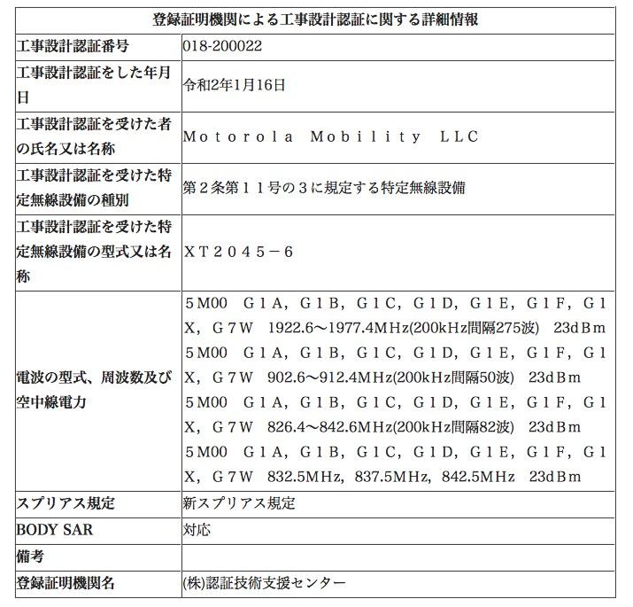 Moto G8の技適認証