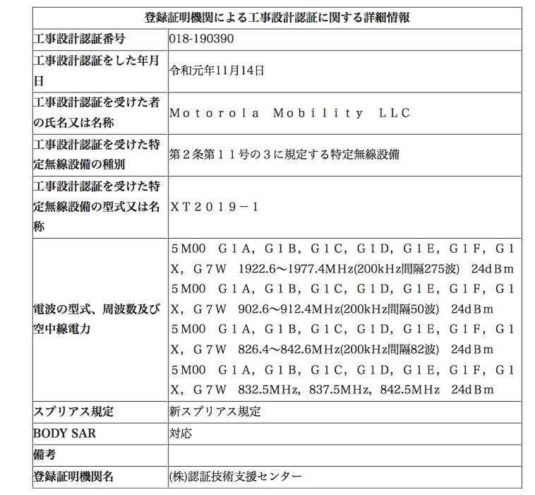 Moto G8 Plusの技適認証
