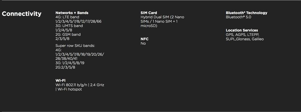 Moto G8 Power 通信バンド