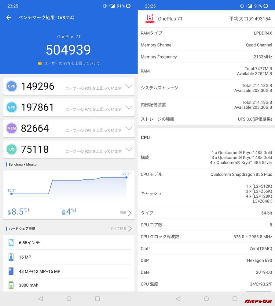 one plus7t(Android 10)実機AnTuTuベンチマークスコアは総合が504939点、3D性能が197861点。