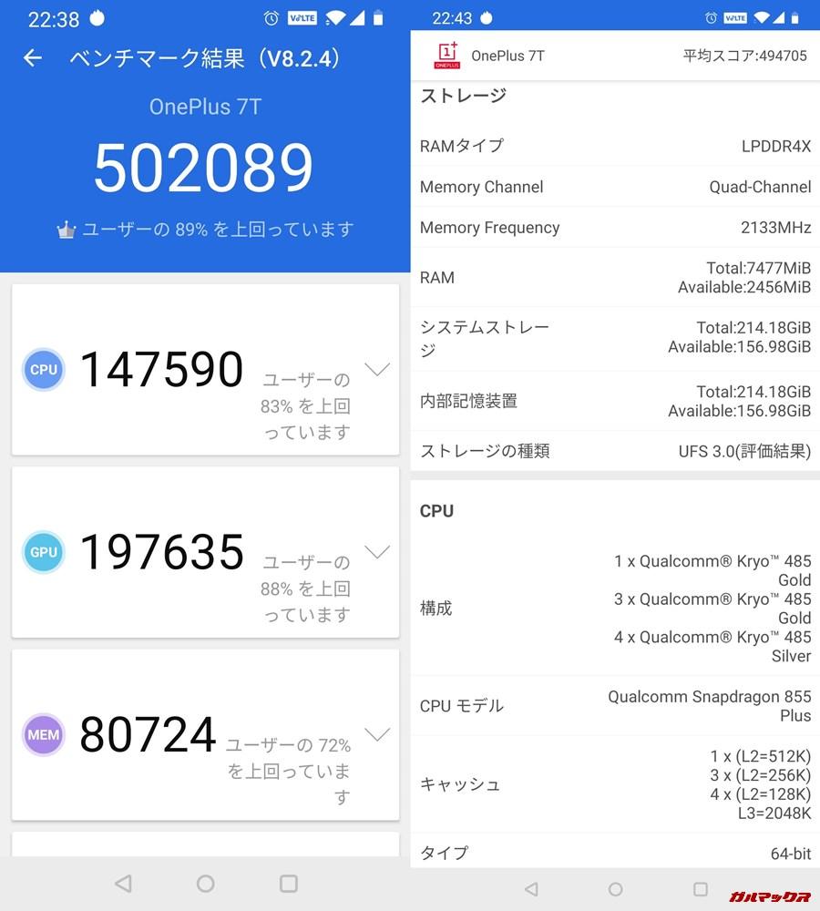 one plus7t(Android 10)実機AnTuTuベンチマークスコアは総合が502089点、3D性能が197635点。