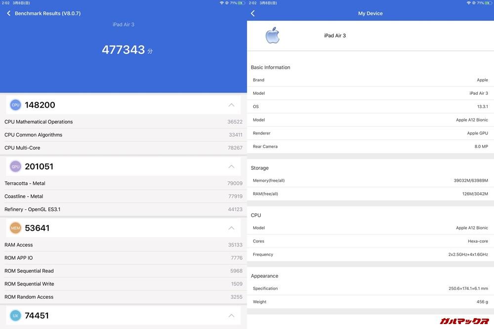iPad air 3(iOS 13.3.1)実機AnTuTuベンチマークスコアは総合が477343点、3D性能が201051点。
