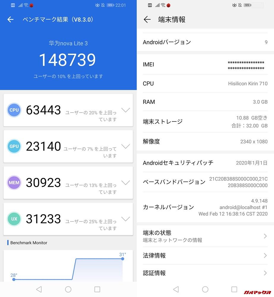 HUAWEI nova lite 3(Android 9)実機AnTuTuベンチマークスコアは総合が148739点、3D性能が23140点。