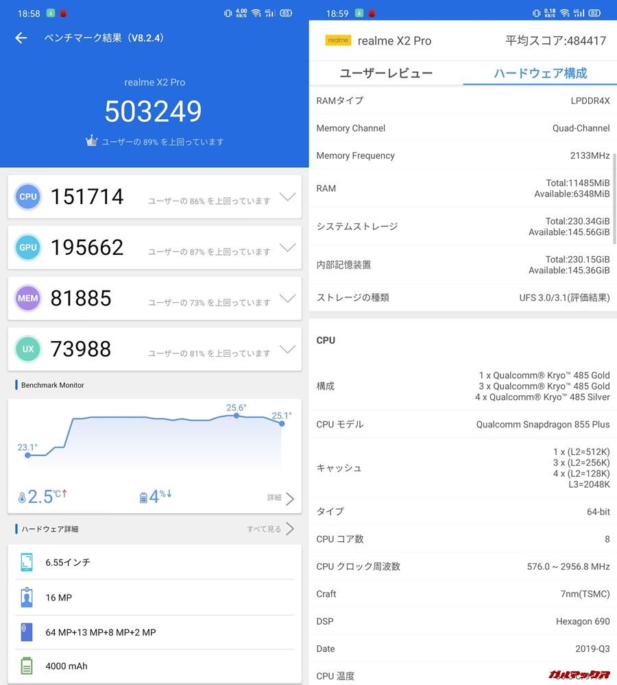 Realme X2 Pro(Android 10)実機AnTuTuベンチマークスコアは総合が503249点、3D性能が195662点。