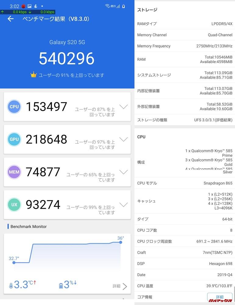 GALAXY S20 5G(Android 10)実機AnTuTuベンチマークスコアは総合が540296点、3D性能が218648点。