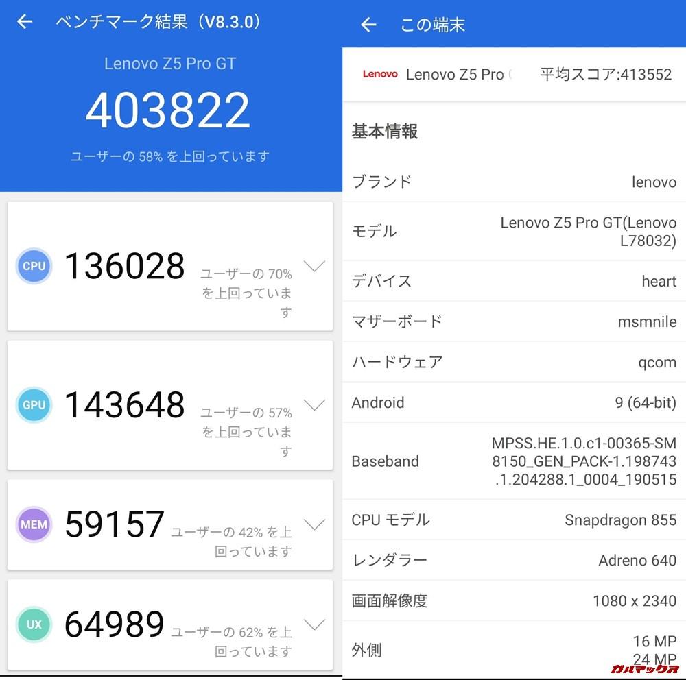 Lenovo Z5 Pro GT(Android 9)実機AnTuTuベンチマークスコアは総合が403822点、3D性能が143648点。