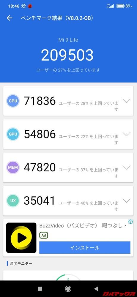 Xiaomi Mi 9 Lite(Android 9)実機AnTuTuベンチマークスコアは総合が209503点、3D性能が54806点。