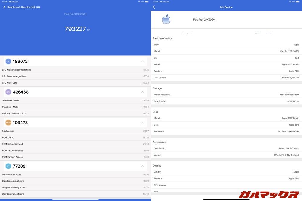 iPad Pro 12.9 2020(iOS 13.4)実機AnTuTuベンチマークスコアは総合が793227点、GPU性能が426468点。