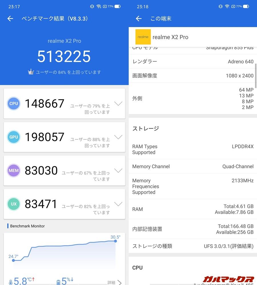 Realme X2 Pro/メモリ8GB(Android 10)実機AnTuTuベンチマークスコアは総合が513225点、GPU性能が198057点。