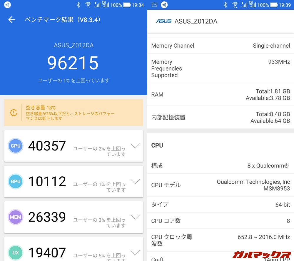 ASUS ZenFone 3/ZE552KL(Android 8.0)実機AnTuTuベンチマークスコアは総合が96215点、GPU性能が10112点。