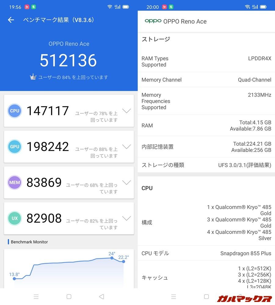 OPPO Reno Ace/メモリ8GB(Android 10)実機AnTuTuベンチマークスコアは総合が512136点、GPU性能が198242点。