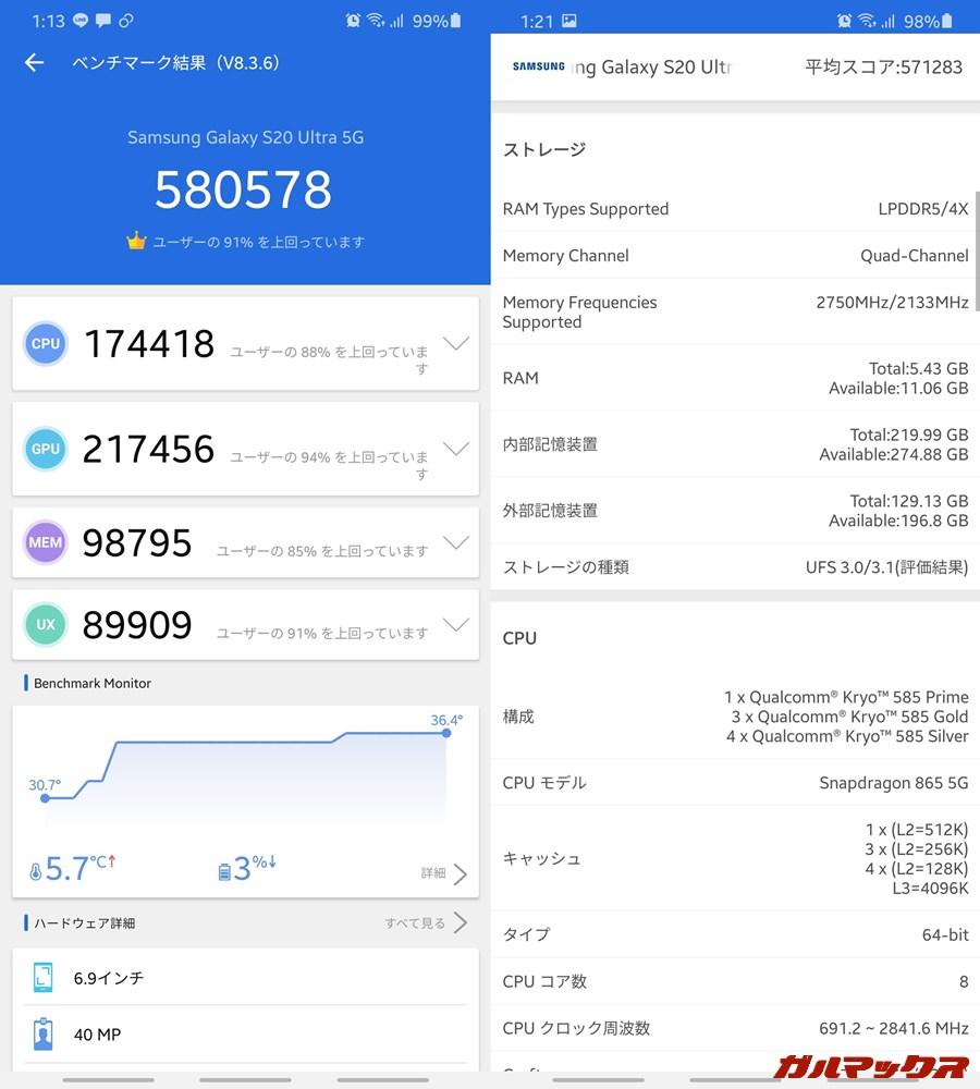 Galaxy S20 Ultra 5G/メモリ12GB(Android 10)実機AnTuTuベンチマークスコアは総合が580578点、GPU性能が217456点。