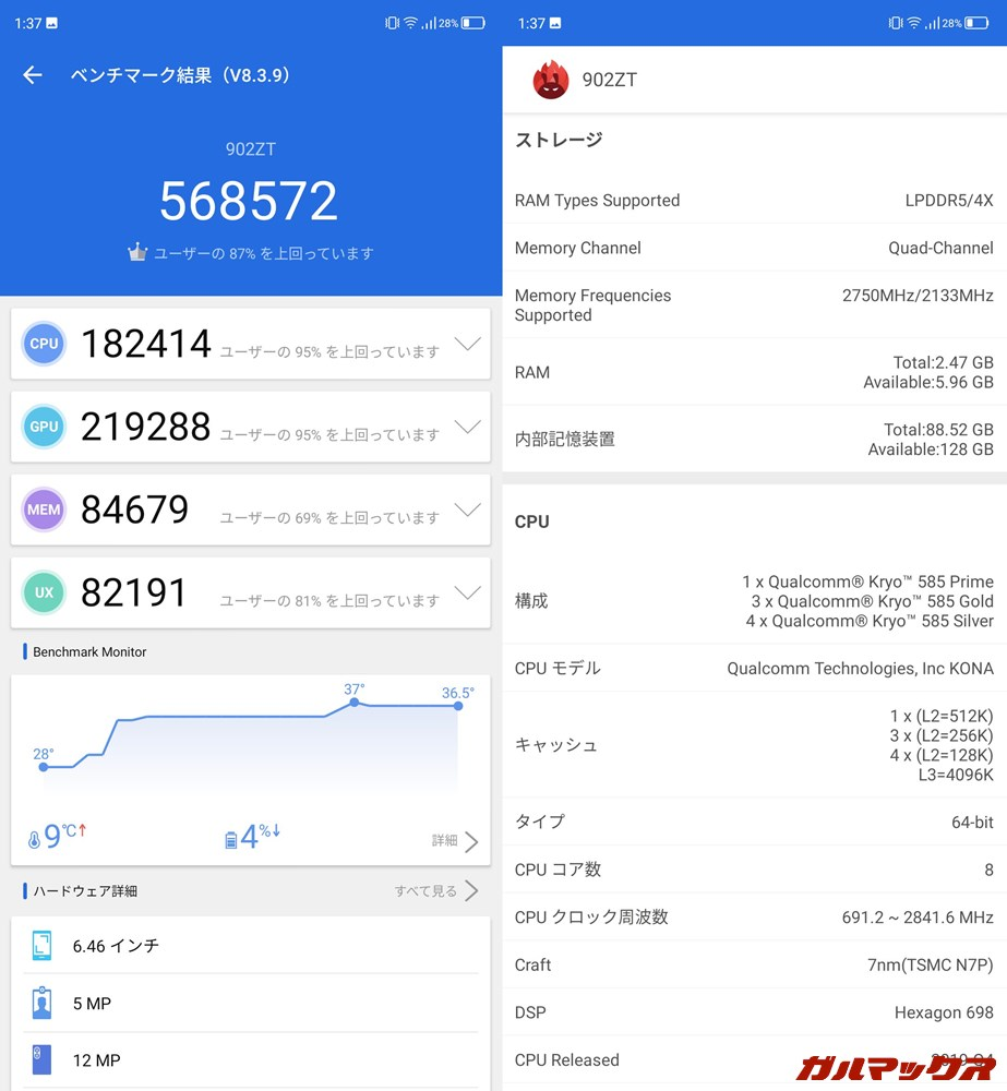 ZTE Axon 10 Pro 5G(902ZT)(Android 10)実機AnTuTuベンチマークスコアは総合が568572点、GPU性能が219288点。