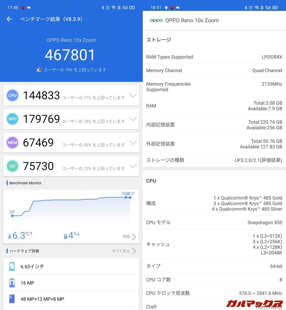 OPPO Reno 10x Zoom/メモリ8GB(Android 10)実機AnTuTuベンチマークスコアは総合が467801点、GPU性能が179769点。