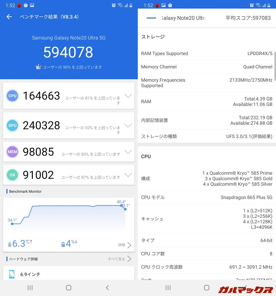 Galaxy Note 20 Ultra(Android 10)実機AnTuTuベンチマークスコアは総合が594078点、GPU性能が240328点。