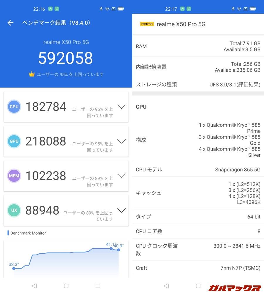 Realme X50 Pro 5G/メモリ8GB(Android 10)実機AnTuTuベンチマークスコアは総合が592058点、GPU性能が218088点。