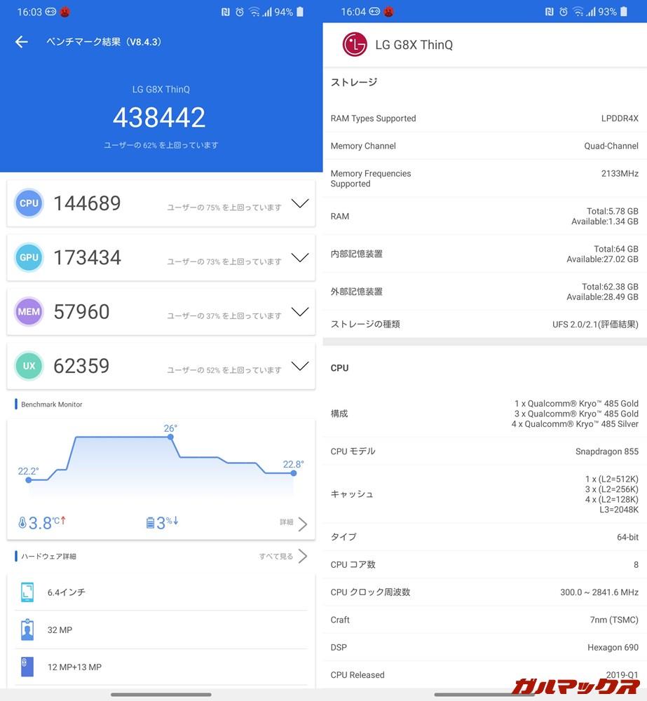 LG G8X ThinQ(Android 10)実機AnTuTuベンチマークスコアは総合が438442点、GPU性能が173434点。
