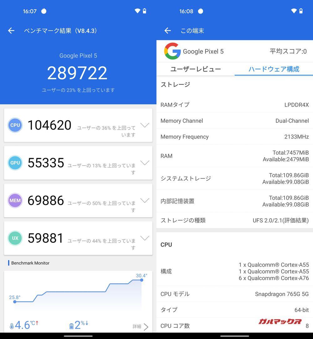 Pixel 5(Android 11)実機AnTuTuベンチマークスコアは総合が289722点、GPU性能が55335点。