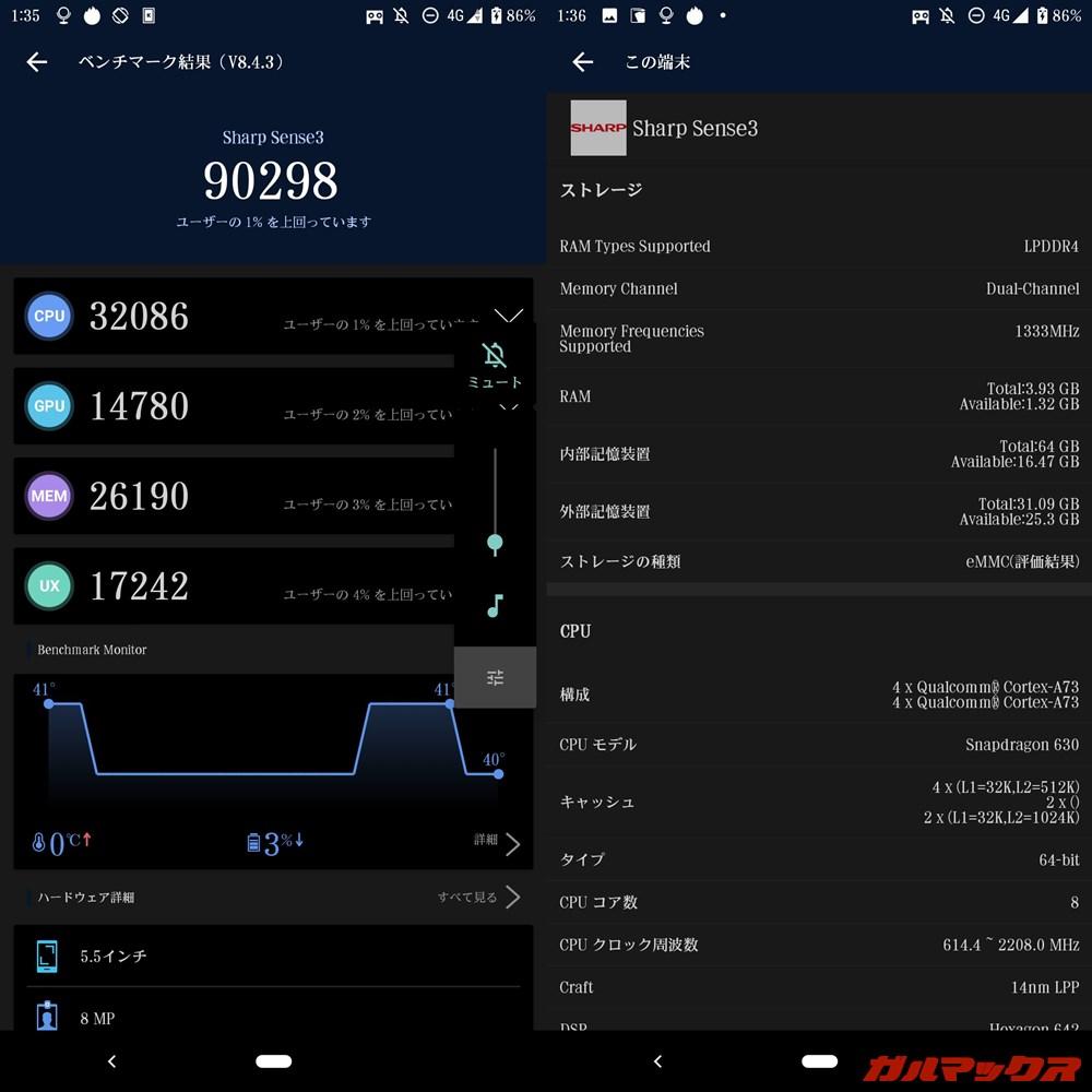 AQUOS sense3(Android 10)実機AnTuTuベンチマークスコアは総合が90298点、GPU性能が14780点。