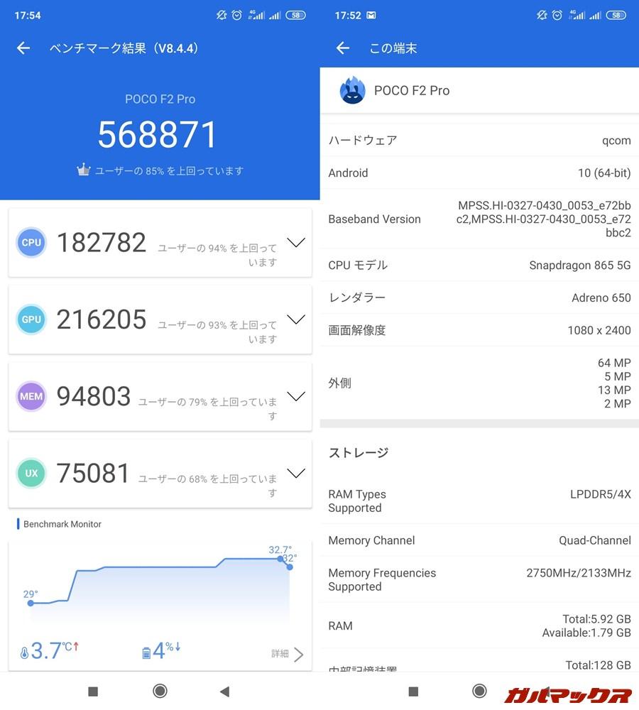 POCO F2 Pro/メモリ6GB(Android 10)実機AnTuTuベンチマークスコアは総合が568871点、GPU性能が216205点。