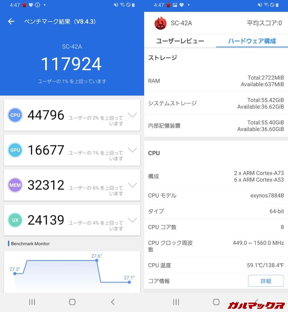 Galaxy A21(SC-42A)(Android10)実機AnTuTuベンチマークスコアは総合が117924点、GPU性能が16677点。