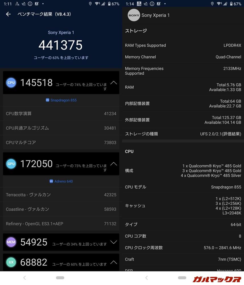 Xperia 1(Android 10)実機AnTuTuベンチマークスコアは総合が441375点、GPU性能が172050点。