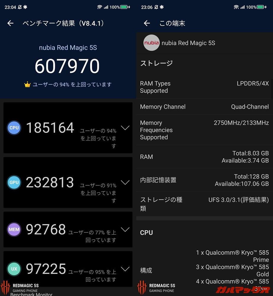 Nubia RedMagic 5S/メモリ8GB(Android 10)実機AnTuTuベンチマークスコアは総合が607970点、GPU性能が232813点。