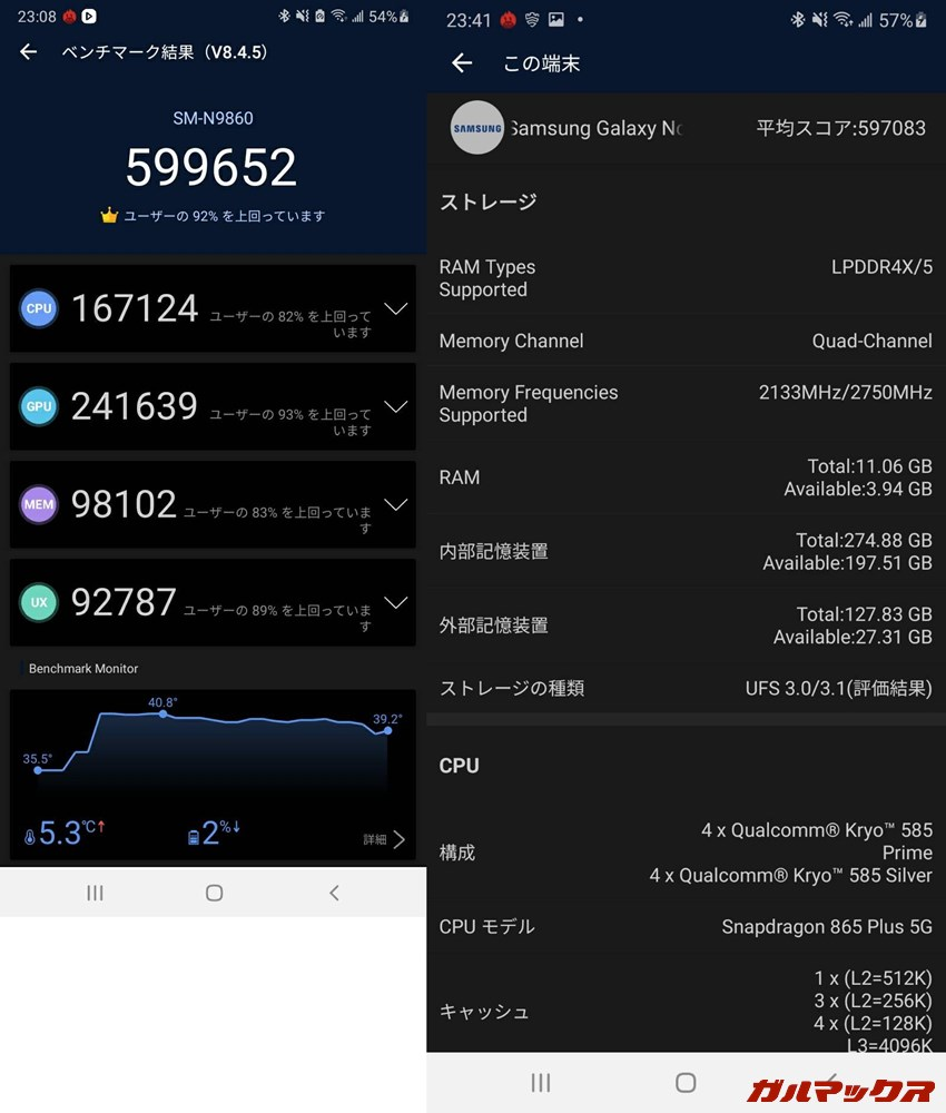 Galaxy Note 20 Ultra/メモリ12GB(Android 10)実機AnTuTuベンチマークスコアは総合が599652点、GPU性能が241639点。