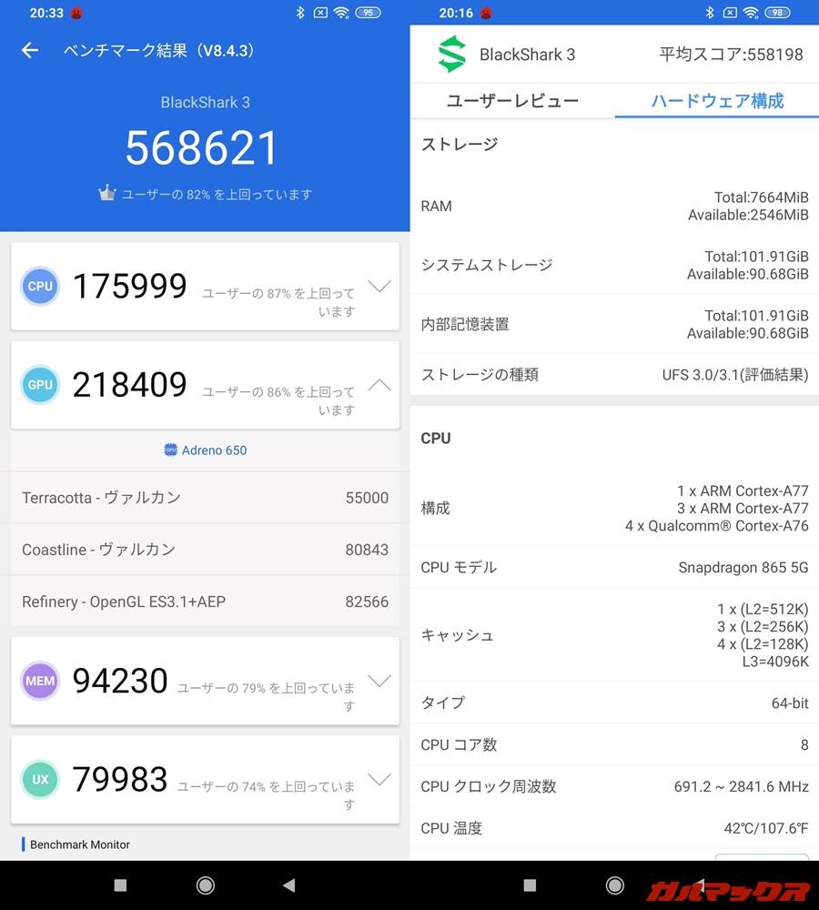 BlackShark 3/メモリ8GB(Android 10)実機AnTuTuベンチマークスコアは総合が568621点、GPU性能が218409点。
