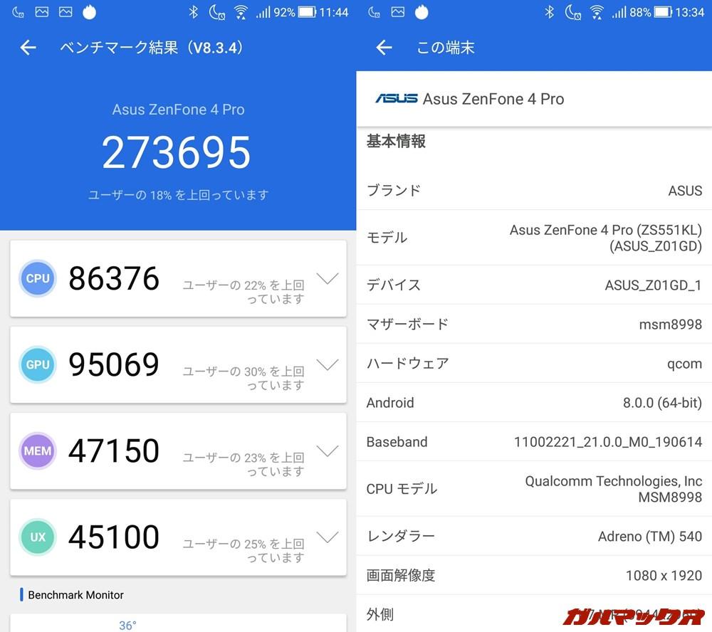 Zenfone 4 Pro/メモリ6GB(Android 8.0)実機AnTuTuベンチマークスコアは総合が273695点、GPU性能が95069点。