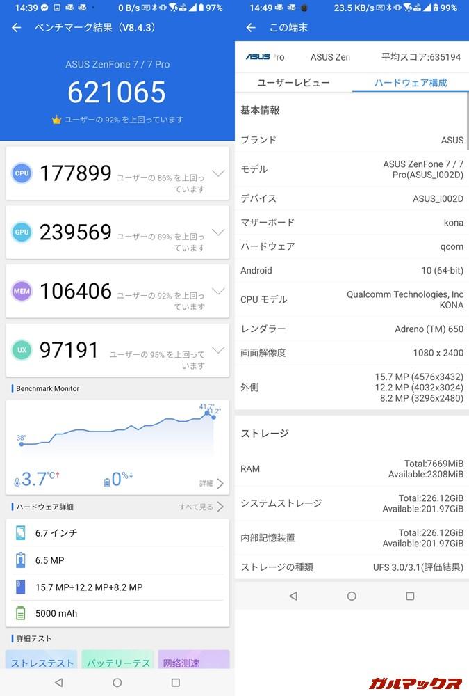 ZenFone 7 Pro(Android 10)実機AnTuTuベンチマークスコアは総合が621065点、GPU性能が239569点。