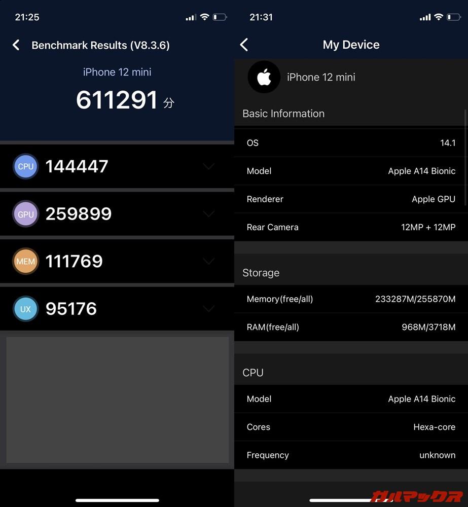 iPhone 12 mini(iOS 14.1)実機AnTuTuベンチマークスコアは総合が611291点、GPU性能が259899点。