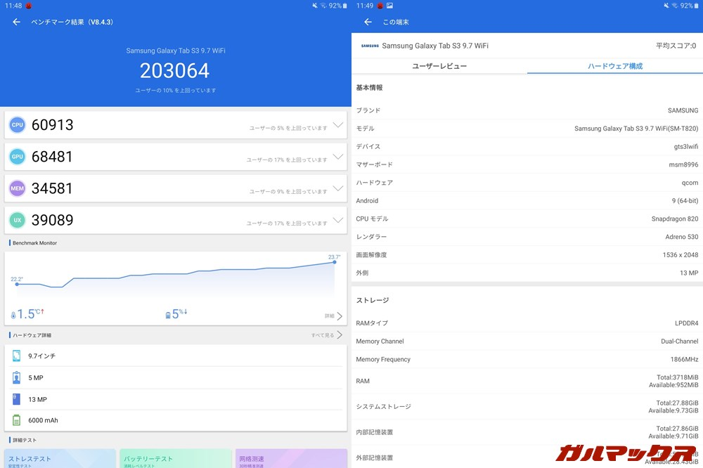 Galaxy Tab S3(Android 9)実機AnTuTuベンチマークスコアは総合が203064点、GPU性能が68481点。
