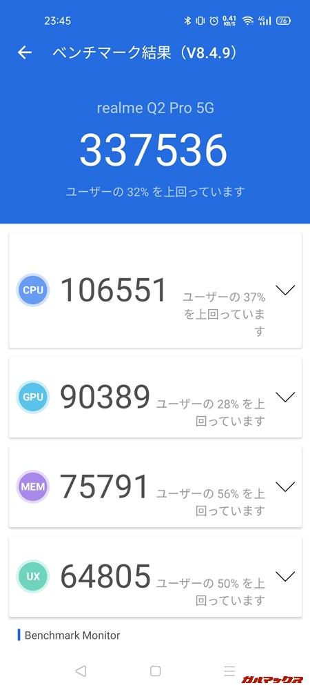 Realme Q2 Pro 5G(Android 10)実機AnTuTuベンチマークスコアは総合が337536点、GPU性能が90389点。