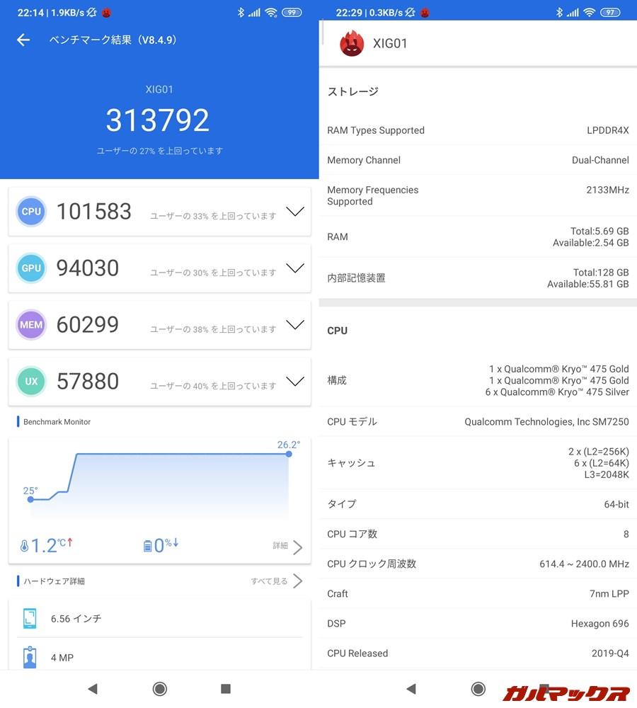 Xiaomi Mi 10 Lite 5G(Android 10)実機AnTuTuベンチマークスコアは総合が313792点、GPU性能が94030点。