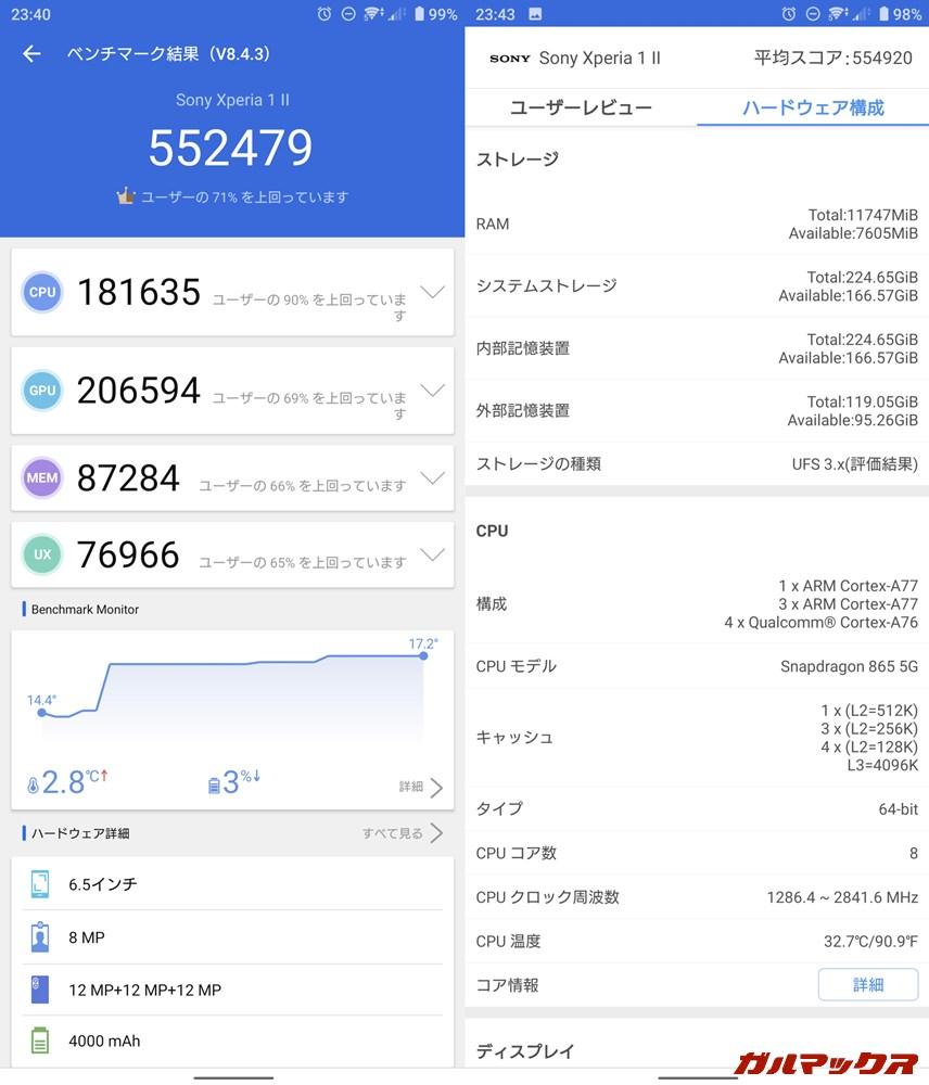 Xperia 1 Ⅱ/メモリ12GB(Android 10)実機AnTuTuベンチマークスコアは総合が552479点、GPU性能が206594点。