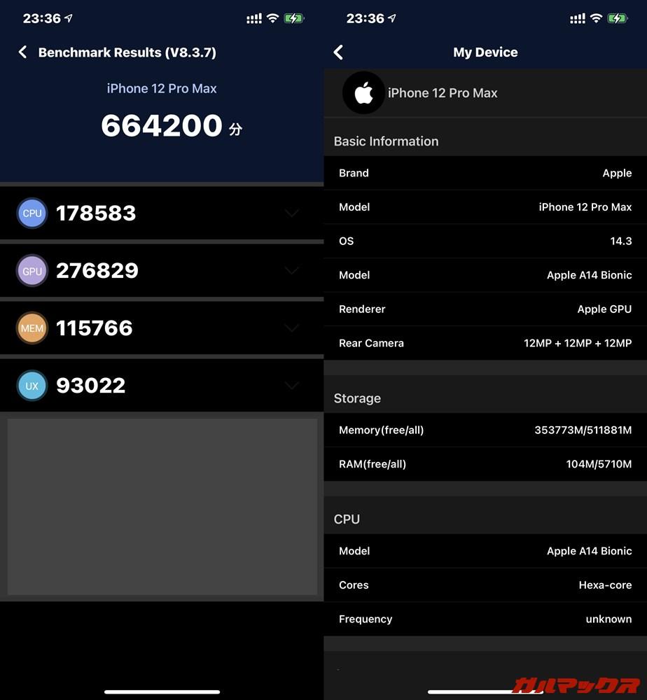 iPhone 12 Pro Max(iOS 14.3)実機AnTuTuベンチマークスコアは総合が664200点、GPU性能が276829点。