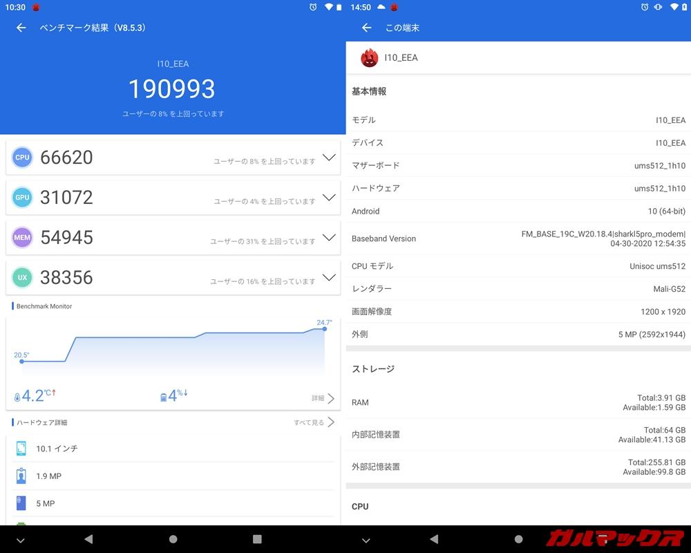 BMAX MaxPad I10(Android 10)実機AnTuTuベンチマークスコアは総合が190993点、GPU性能が31072点。
