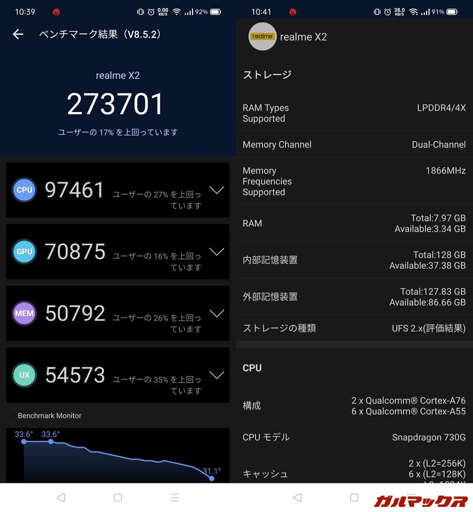 Realme X2/メモリ8GB(Android 10)実機AnTuTuベンチマークスコアは総合が273701点、GPU性能が70875点。