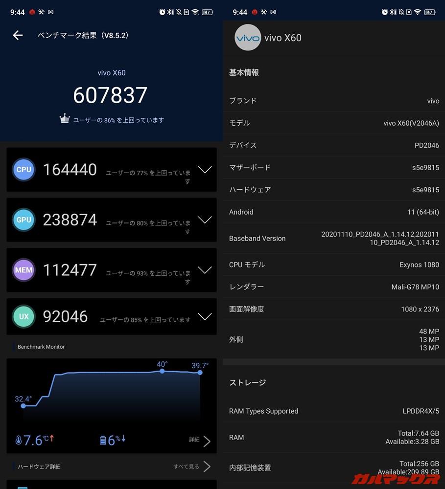 Vivo X60(Android 11)実機AnTuTuベンチマークスコアは総合が607837点、GPU性能が238874点。