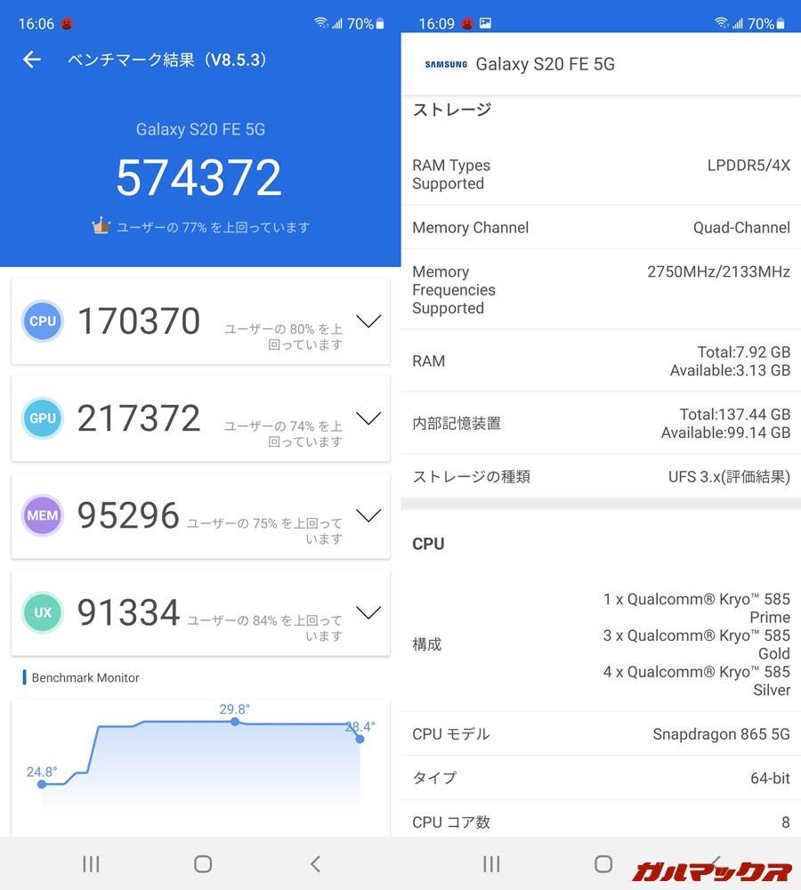 Galaxy S20 FE 5G(Android 11)実機AnTuTuベンチマークスコアは総合が574372点、GPU性能が217372点。