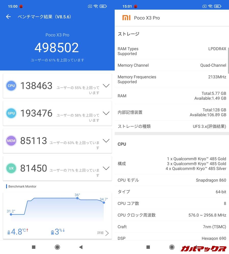 POCO X3 Pro/メモリ6GB(Android 11)実機AnTuTuベンチマークスコアは総合が498502点、GPU性能が193476点。