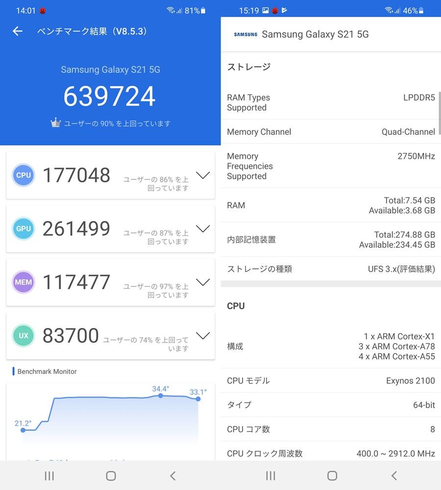 Galaxy S21(Android 11)実機AnTuTuベンチマークスコアは総合が639724点、GPU性能が261499点。