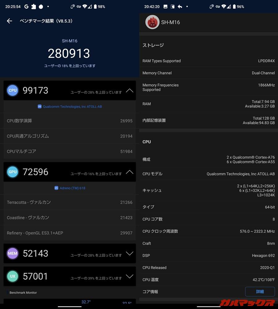 AQUOS Sense4 Plus(Android 10)実機AnTuTuベンチマークスコアは総合が280913点、GPU性能が72596点。
