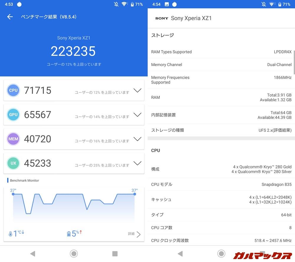 Xperia XZ1(Android 9)実機AnTuTuベンチマークスコアは総合が223235点、GPU性能が65567点。
