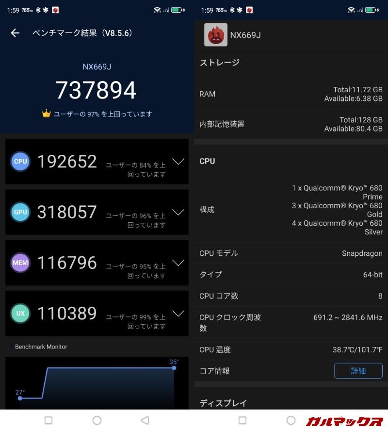 RedMagic 6/メモリ12GB(Android 11)実機AnTuTuベンチマークスコアは総合が737894点、GPU性能が318057点。
