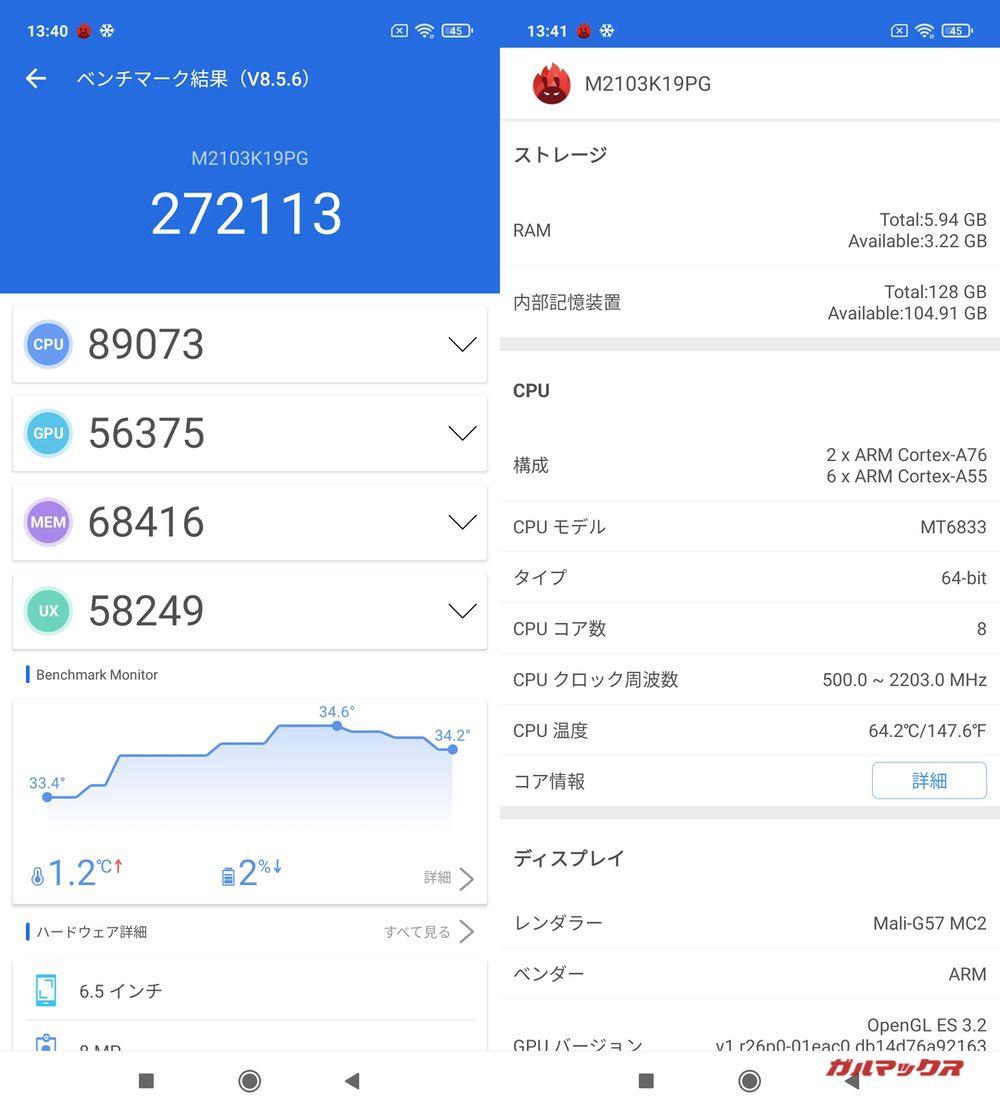 POCO M3 Pro 5G/メモリ6GB(Android 11)実機AnTuTuベンチマークスコアは総合が272113点、GPU性能が56375点。