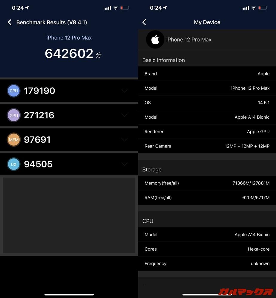 iPhone 12 Pro Max(iOS 14.5)実機AnTuTuベンチマークスコアは総合が642602点、GPU性能が271216点。
